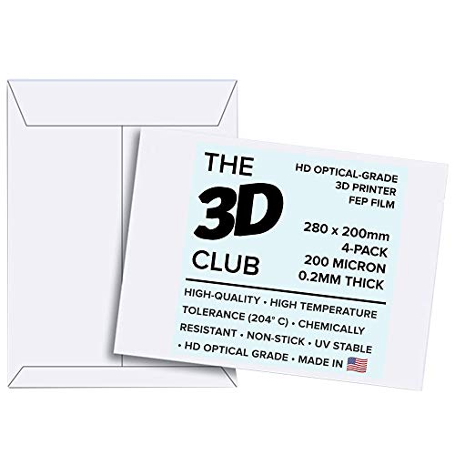 FEP Film for UV 3D Printers | 0.2mm Thick | 4-Sheets | 280mm x 200mm Per Sheet | HD Optical Grade | Available in 3 Thicknesses