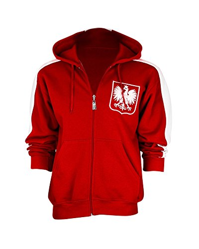 ip-Up Hooded Sweatshirt, Red M (Embroidered Soccer Sweatshirt)
