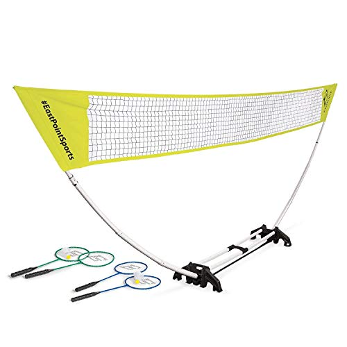 EastPoint Sports Easy Setup Badminton Net Set -5 Feet- Features Carry Storage Built-in Base, Weather Proof Material - Includes Badminton Net, 4 Rackets and 2 Shuttlecocks (Color May Vary) (Best Portable Badminton Set)