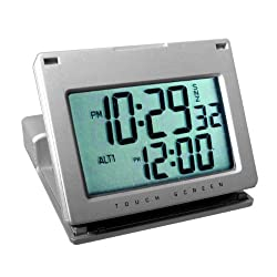 Natico Clock, Alarm, Touch Panel  Silver (10-166)