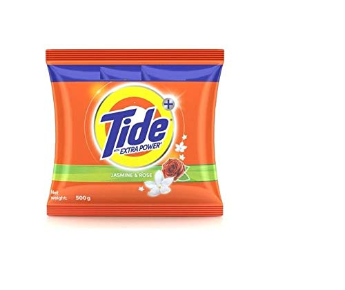 Tide Plus Detergent Washing Powder with Extra Power Jasmine and Rose Pack - 500 g (Offer pack)