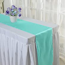 10PCS 12 x 108 Inch Satin Table Runner Wedding Banquet Decoration (#14 Water Blue) by Kate Princess