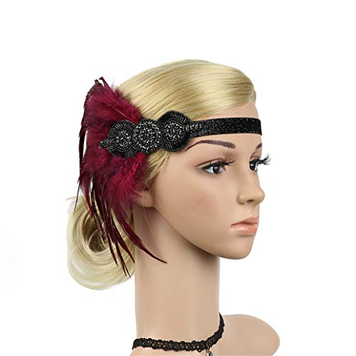 (Women's Flapper Feather Headband 1920s Art Deco Roaring 20s Great Gatsby Headpiece Gatsby Costume Wine)