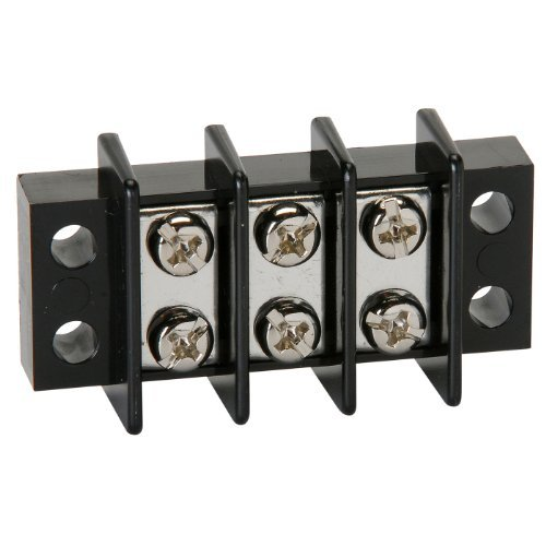 NTE Electronics 25-B600-03 Series 25-B600 Terminal Block Barrier Strip, Dual Row Panel Mount, 25 Amp, Dual Row, 3 Pole, 11.00 mm Pitch, 300V, 22-12 AWG Wire Range