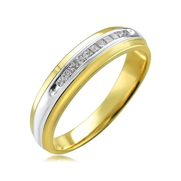 14k-Two-Tone-Yellow-Gold-with-Rhodium-Princess-cut-Diamond-Mens-Wedding-Band-Ring-14-cttw-I-J-I1-I2