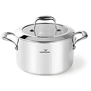 HOMI CHEF Mirror Polished NICKEL FREE Stainless Steel 6 QT(Quart) Stock Pot/Soup Pot with Glass Lid