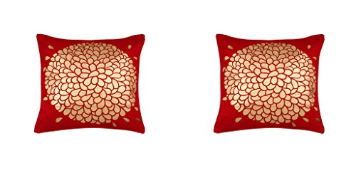 Eccellente Cushion Cover 24 X 24 – Set of 2 ( 60X60 CM ) – Red/Maroon