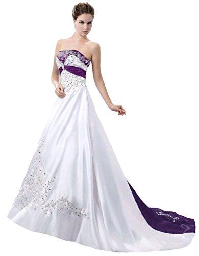 Snowskite Women's Strapless Satin Embroidery Wedding Dress 16 White&Purple