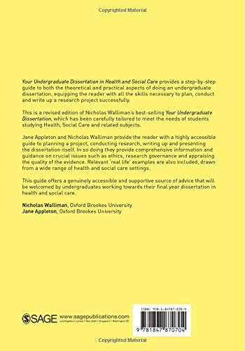 Your Undergraduate Dissertation In Health And Social Care Sage Study Skills Series The Essential Guide For Success Amazon Co Uk Nicholas Walliman Jane Appleton Appleton Jane 9781847870704 Books