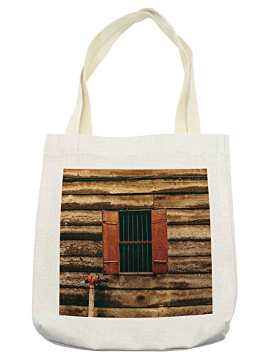 Lunarable House Tote Bag, Wooden Old Lumberjack House with Single Window and Wires in Dark Photograph Print, Cloth Linen Reusable Bag for Shopping Groceries Books Beach Travel & More, (Lumberjack Costume Images)