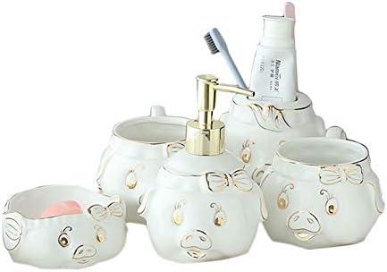 FXin バスルームアクセサリー、セラミック素材、かわいい豚の形のバスルーム、5個セット、6個セット、バスルームブラシカップセット シャワー室 (Size : Five-piece)