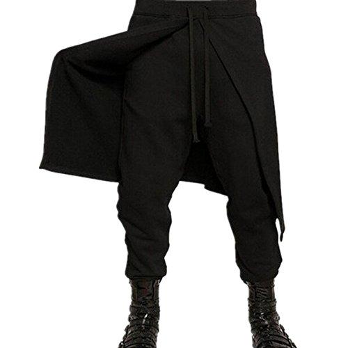 Dolland Men Punk Style Baggy Harem Elastic Waist Jogging Hip Hop Dance Sport Pants Plus Size,Black,3XL