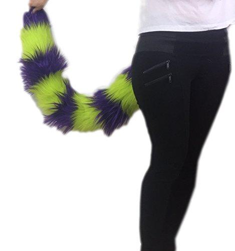 Handmade Purple and Neon Green Cat Luxury Tail, 20 25 30 35 40