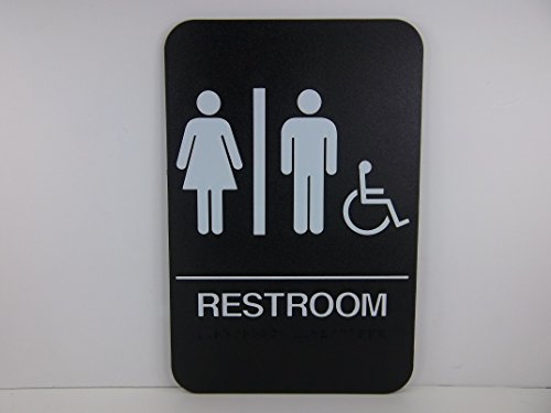 6'' x 9'' ADA Compliant, Men, Women & Wheelchair Restroom Sign, With Raised White Tactile Graphic Characters, Text, and Grade 2 Braille for The Blind (6'' x 9'' Men & Women & Wheelchair, Black) by Cal-Royal (Image #2)