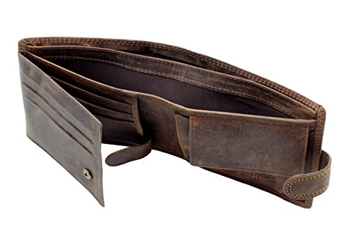 StarHide® Bloqueo De RFID Hombres De Alta Calidad Marrón Apenado Cazador De Cuero De La Cartera Regalo En Caja #710: Amazon.es: Ropa y accesorios