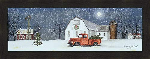 Home Cabin Décor 'Winter On The Farm' by Billy Jacobs 16x40 Christmas Trees Old Truck Barn Silo Windmill Full Moon Snow Snowing Seasons Framed Art Print Picture ()