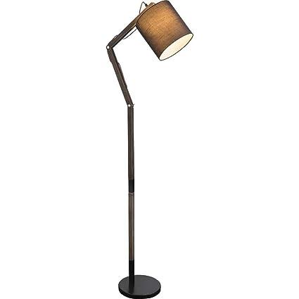 Elegante lámpara de pie articulada de madera y metal con ...