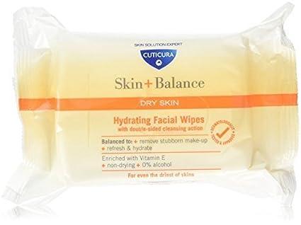 Cuticura Piel + Balanza Seca Piel Hidratante Facial Toallitas (3 Paquetes De 25 Toallitas)
