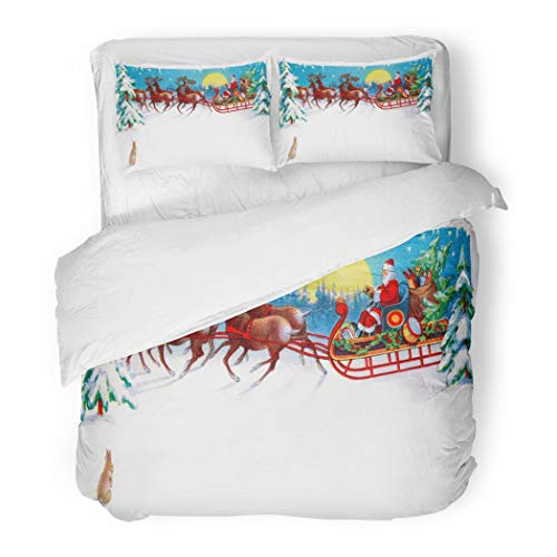 Emvency Bedding Duvet Cover Set Red Vintage Rabbit Watches Santa Reindeer and Sleigh on Christmas Eve Circa 1915 Area for Claus 3 Piece Set with 2 Pillow Shams King 104