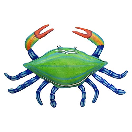 Mayrich Metal Blue Crab Wall Art, Colorful Contemporary Summer Beach House Dcor Accessory
