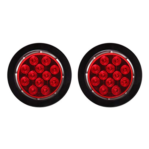 CZC AUTO Submersible Red Lens 4 Round LED Trailer Stop Tail Turn Running Light with Grommet and Plug for Boat Trailer Truck (2Pack)