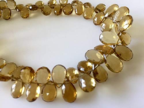 Gems World Beautiful Jewelry Natural AAA Lemon Quartz Faceted Pear Shaped Briolette Beads, 5x7mm to 7x11mm Beer Quartz Beads, 9 Inch Full Strand Code-COM-3361