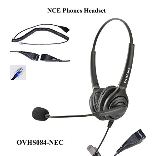 OvisLink Dual Ear NEC SL1100 Headset | Noise Cancelling Microphone Headset Compatible with All NEC Telephones | RJ9 Headset Quick Disconnect Cord Included | 2 Years Warranty