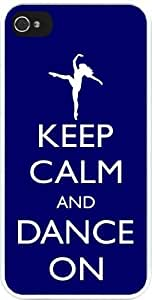 Rikki KnightTM Keep Calm and Dance On - Blue Color Design iPhone 4 & 4s Case Cover (White Rubber with bumper protection) for Apple iPhone 4 & 4s by icecream design