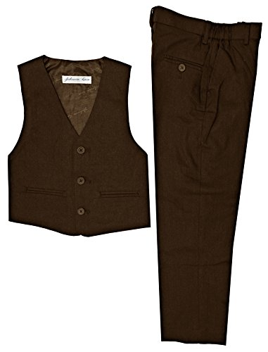 Boys Linen Blend Vest And Pants Set (14, Brown) by Johnnie Lene