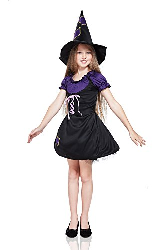 Kids Girls Evil Witch Costume Sorceress Enchantress Halloween Outfit & Dress Up (3-6 years, Black, Purple, Golden)