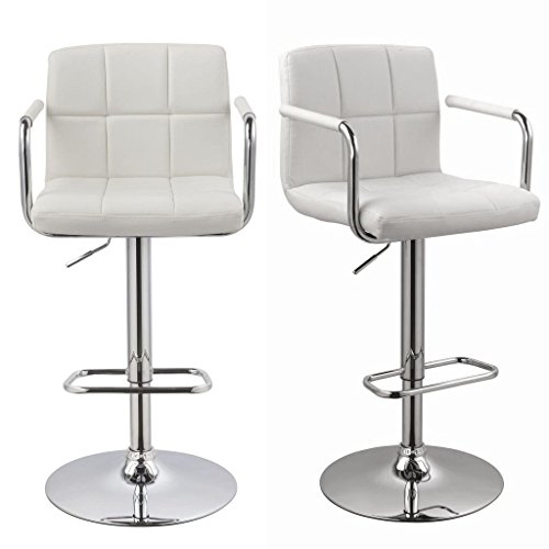 Duhome 2 Pcs Luxury Synthetic Leather Bar Stools with Armrest White Kitchen Counter Pub Stool Chair by Duhome Elegant Lifestyle