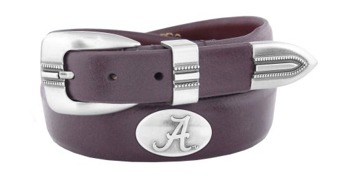 NCAA Alabama Crimson Tide Brown Tip Leather Concho Belt, 36 ()