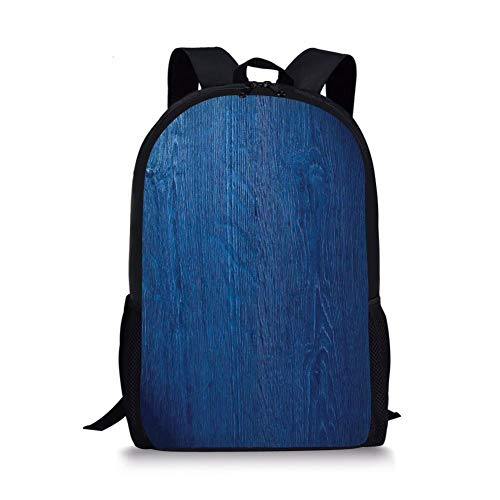 School Bags Navy Blue Decor,Photo of Oak Wood Texture Nature Style Vintage Decorative Artprint Home,Royal Blue for Boys&Girls Mens Sport -