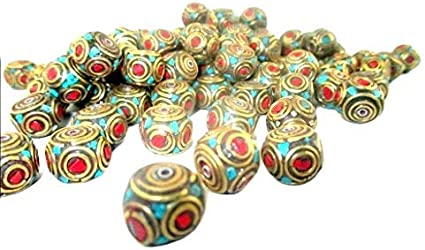 5 Pcs of Turquoise /& Coral Nepal Tibetan Loose Beads Jewelry Making Supplies