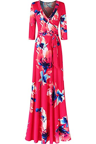 Bon Rosy Women's #MadeInUSA 3/4 Sleeve V-Neck Printed Maxi Faux Wrap Tie Dye Dress Summer Wedding Guest Party Bridal Baby Shower Maternity Nursing Fuchsia L -