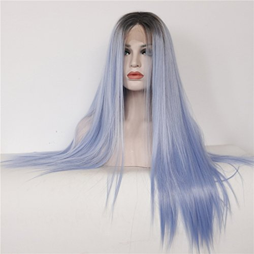 Ebingoo Handmade Fashion Synthetic Lace Front Wig Ombre Blue Straight Long Hand Tied 2 Tones Heat Resistant Fiber Hair Brown Roots JLS301 (24inches)