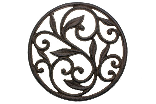 Cast Iron Trivet – Round with Vintage Pattern – Decorative Cast Iron Trivet For Kitchen Or Dining Table – 7.7″ Diameter – Rust Brown Color – With Rubber Pegs by Comfify