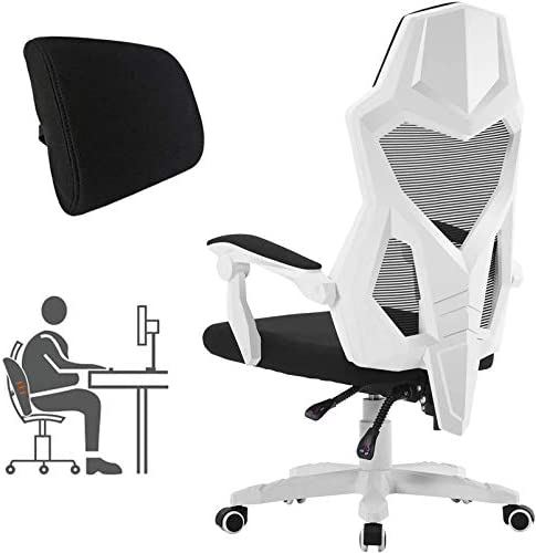 HOMEFUN Ergonomic Office Chair, High Back Executive Desk Chair Adjustable Comfortable Task Chair with Armrests with Lumbar Support White