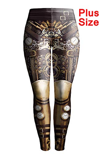 Plus Size Steampunk (color cosplayer Steampunk Retro Comic Cosplay Women Leggings Punk Print Polyester GothicTrousers Pants (XXXL,)
