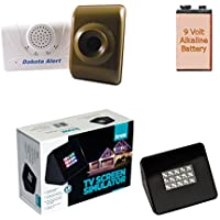 Dakota Alert 2500 Wireless Motion Detection Kit + Knox Gear Burglar Deterrent TV Simulator with Battery