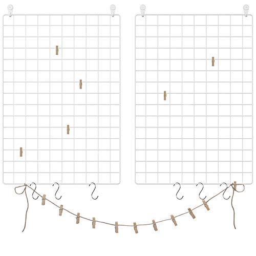 SONGMICS Grid Panels, Set of 2, Photo Wall Display, Metal Mesh Wall Decor, Multifunctional Hanging Picture Wall, DIY, Art Display, S Hook, Clips, Hemp Cord, White ULPP02W