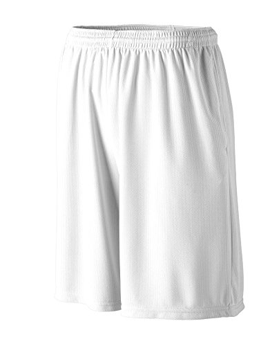 Augusta Sportswear BOYS' LONGER LENGTH WICKING SHORT W/ POCKETS M White
