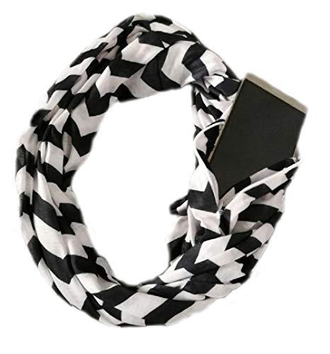 - Pocket Scarf Pop Fashion Infinity Scarf Zipper Pattern Print Lightweight Wrap for Women Girls Ladies