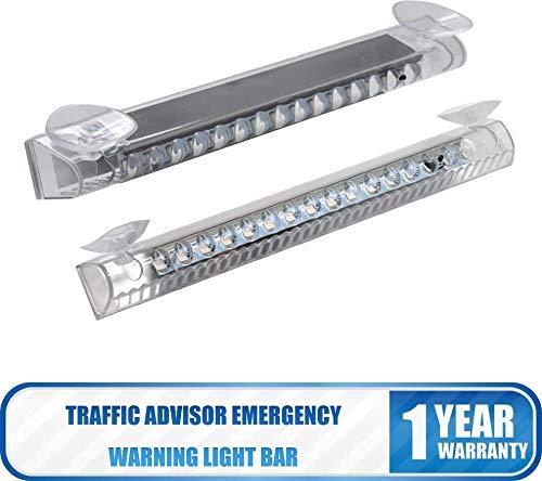 MASO Traffic Advisor Emergency Warning Light Bar 14 LED Wireless Solar Light Suck on Car Rear Window Car Multi-Functional Lamp for Vehicle