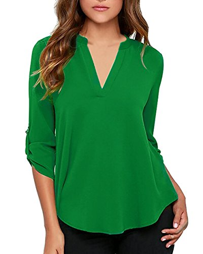 roswear Women's Casual V Neck Cuffed Sleeves Solid Chiffon Blouse Top Green S