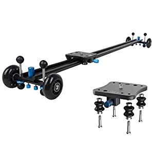 A&J ANJMVSL100 Camera Slider with Aluminum Rail & 4 Wheels Video Dolly Track Photography Stabilizer for DSLR Camera, Black