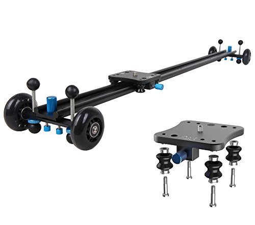 A&J ANJMVSL100 Camera Slider with Aluminum Rail & 4 Wheels Video Dolly Track Photography Stabilizer for DSLR Camera, Black
