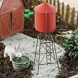 Mini Water Tower - Miniature Fairy Garden Village Pieces Accessories Decoration Rustic Antiqued Distressed