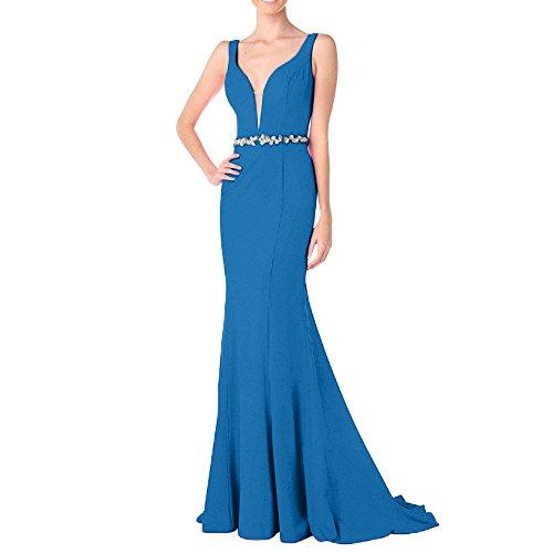 Blau Wunderschoen Partykleider Steine Dunkel Pink Abendkleider V Charmant Ballkleider Damen Ausschnitt Meerjungfrau Lang F7w4aBq