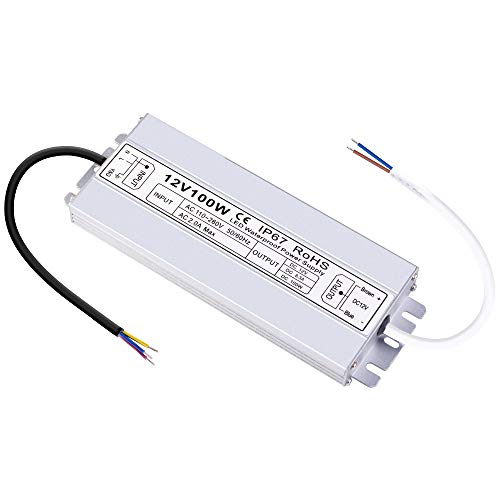 LCJ 100W 12V DC Waterproof LED Power Supply Drivers Transformer for Outdoor LED Light